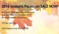 2016 season's Passes on sale now small ad for website